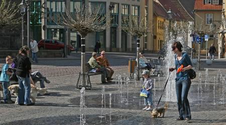 Wasserspiele am Rathaus